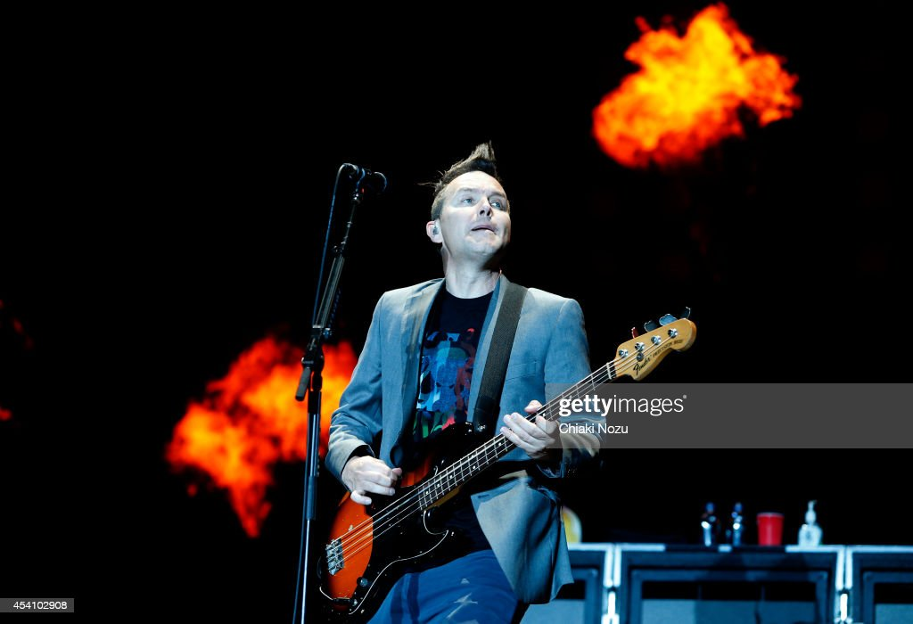 Mark Hoppus of Blink 182 performs on Day 3 of the Reading Festival at Richfield Avenue on August 24 2014 in Reading England