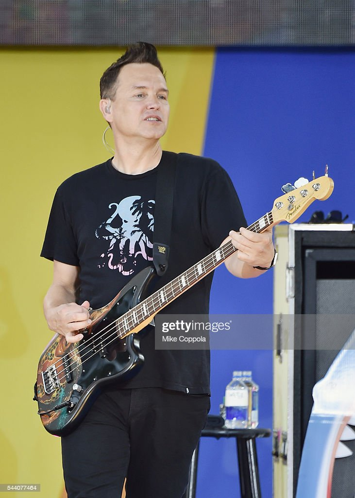 Mark Hoppus of the band Blink 182 performs on ABC's 'Good Morning America' at SummerStage at Rumsey Playfield, Central Park on July 1, 2016 in New York City.