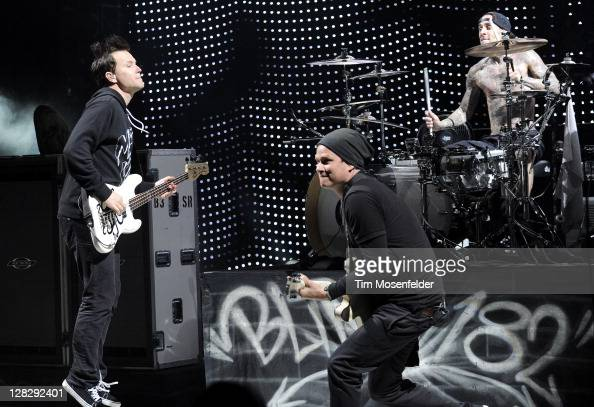 Mark Hoppus Tom DeLonge and Travis Barker of Blink182 perform as part of the Honda Civic Tour at Shoreline Amphitheatre on October 5 2011 in Mountain...