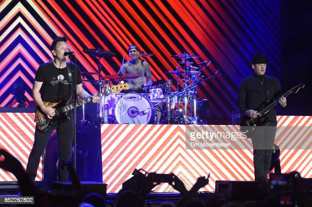 Mark Hoppus Travis Barker and Matt Skiba of Blink 182 perform during the 2017 Life is Beautiful Festival on September 22 2017 in Las Vegas Nevada