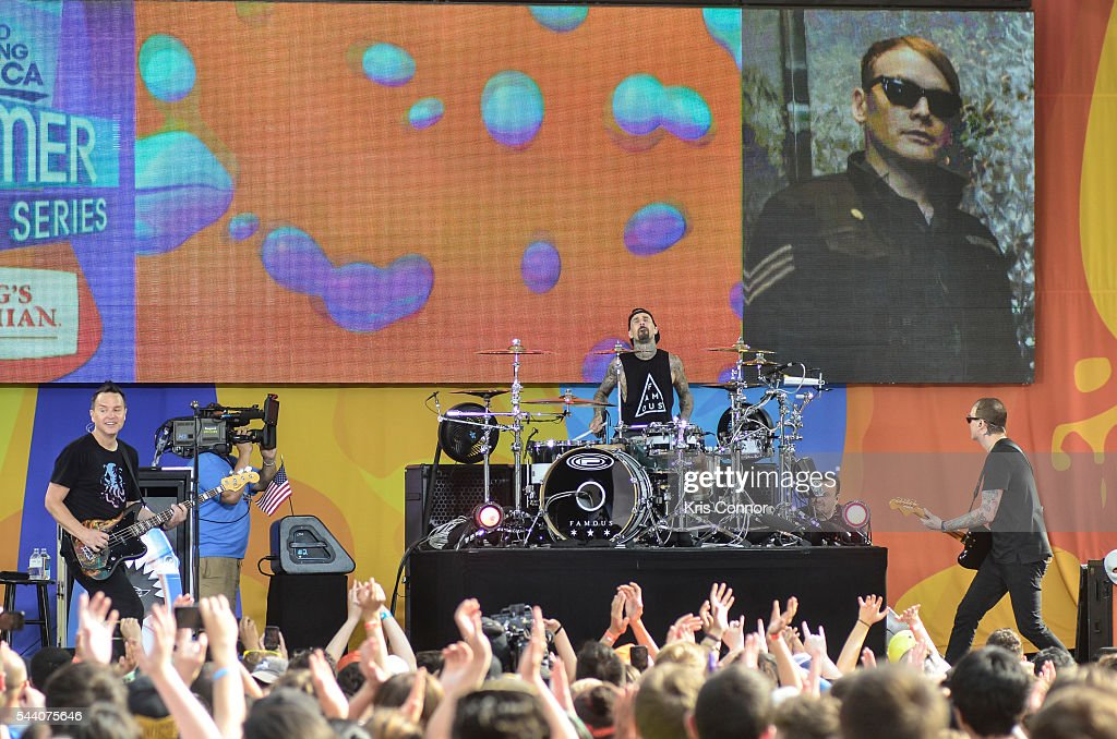 Mark Hoppus, Travis Barker, and Matt Skiba of Blink 182 perform on ABC's 'Good Morning America' Summer Concert Series in Central Park on July 1, 2016 in New York City.