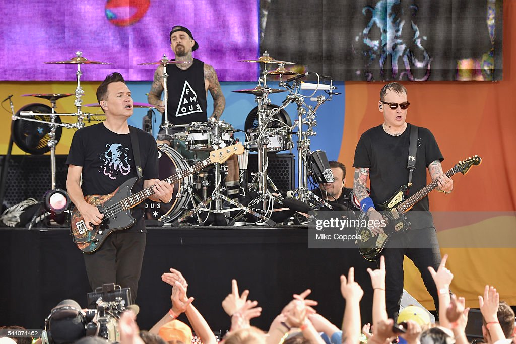 Mark Hoppus, Travis Barker, and Matt Skiba of the band Blink 182 perform on ABC's 'Good Morning America' at SummerStage at Rumsey Playfield, Central Park on July 1, 2016 in New York City.