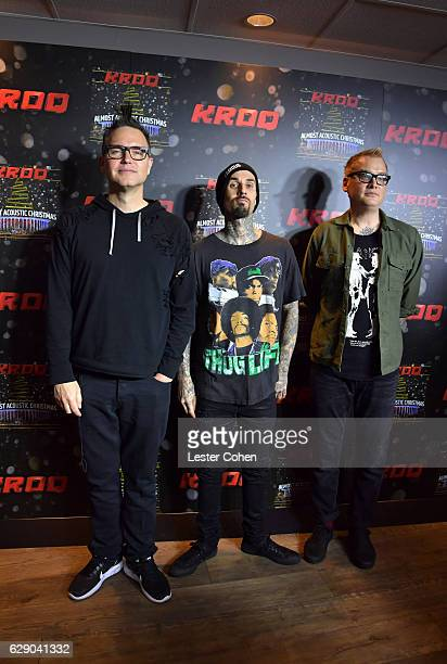 Mark Hoppus Travis Bbarker and Matt Skiba of the band Blink 182 attend 1067 KROQ Almost Acoustic Christmas 2016 Night 1 at The Forum on December 10...