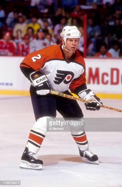 Mark Howe of the Philadelphia Flyers skates on the ice during an NHL preseason game in September 1991 at the Spectrum in Philadelphia Pennsylvania