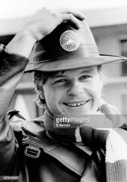 Mark Howe tries on his Olympic parade hat during final uniform fitting before leaving for Sapporo Japan for the 1972 Winter Olympics on January 22...