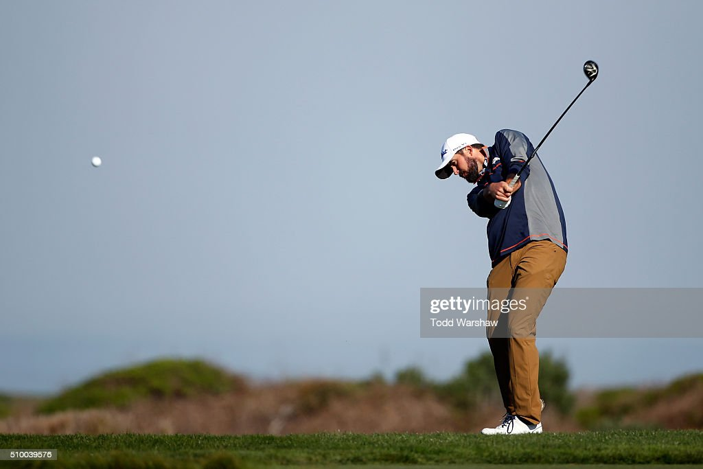 <a gi-track='captionPersonalityLinkClicked' href=/galleries/search?phrase=Mark+Hubbard&family=editorial&specificpeople=3329545 ng-click='$event.stopPropagation()'>Mark Hubbard</a> plays his tee shot on the 12th hole during round three of the AT&T Pebble Beach National Pro-Am at Monterey Peninsula Country Club (Shore Course) on February 13, 2016 in Pebble Beach, California.
