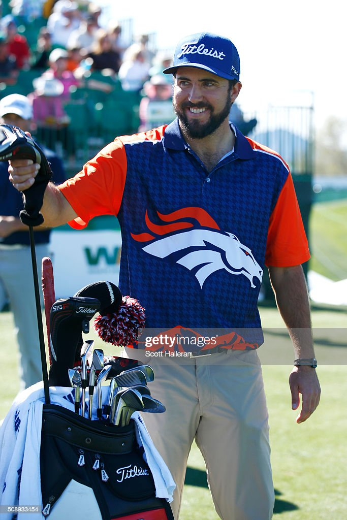 <a gi-track='captionPersonalityLinkClicked' href=/galleries/search?phrase=Mark+Hubbard&family=editorial&specificpeople=3329545 ng-click='$event.stopPropagation()'>Mark Hubbard</a> wears a Denver Broncos jersey as he waits to tee off on the first hole during the final round of the Waste Management Phoenix Open at TPC Scottsdale on February 7, 2016 in Scottsdale, Arizona.