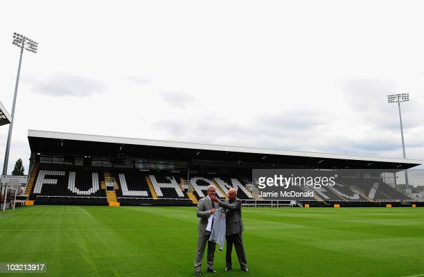 Mark Hughes is appointed as Fulham manager today by Fulham Chairman Mohamed Al Fayed at Craven Cottage on August 3 2010 in London England