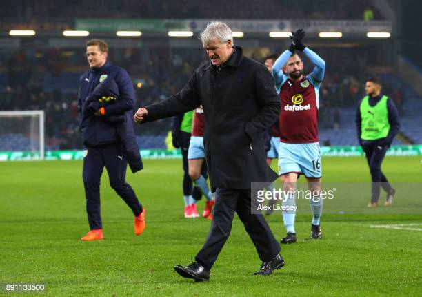 Mark Hughes Manager of Stoke City looks dejected as he leaves the pitch after the Premier League match between Burnley and Stoke City at Turf Moor on...