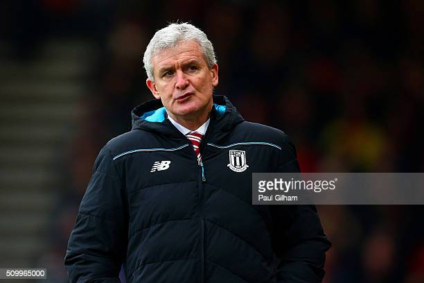 Mark Hughes manager of Stoke City looks on during the Barclays Premier League match between AFC Bournemouth and Stoke City at Vitality Stadium on...