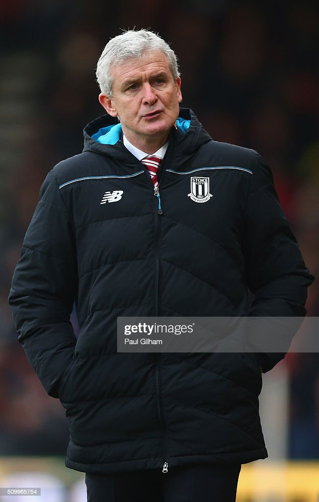 <a gi-track='captionPersonalityLinkClicked' href=/galleries/search?phrase=Mark+Hughes+-+Welsh+Soccer+Manager&family=editorial&specificpeople=206223 ng-click='$event.stopPropagation()'>Mark Hughes</a> manager of Stoke City looks on during the Barclays Premier League match between A.F.C. Bournemouth and Stoke City at Vitality Stadium on February 13, 2016 in Bournemouth, England.