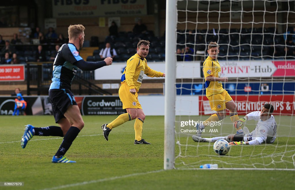 Mark Hughes of Accrington Stanley scores a goal to make it 0-1 during the Sky Bet League Two match between Wycombe Wanderers and Accrington Stanley at Adams Park on April 30, 2016 in High Wycombe, England.