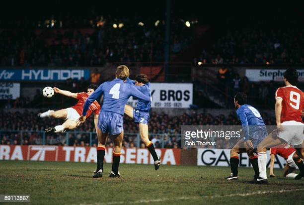 Mark Hughes scores the 2nd goal with a spectacular volley for Wales in their 30 victory over Spain in the FIFA World Cup Qualifying match at the...