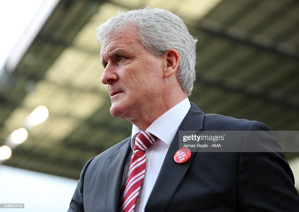 Mark Hughes the head coach / manager of Stoke City during the Barclays Premier League match between Stoke City and Sunderland at Britannia Stadium on April 30, 2016 in Stoke on Trent, England