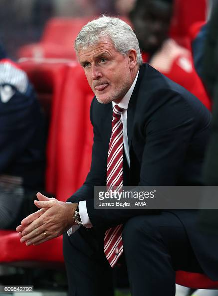 Mark Hughes the head coach / manager of Stoke City during the EFL Cup Third Round match between Stoke City and Hull City at Britannia Stadium on...