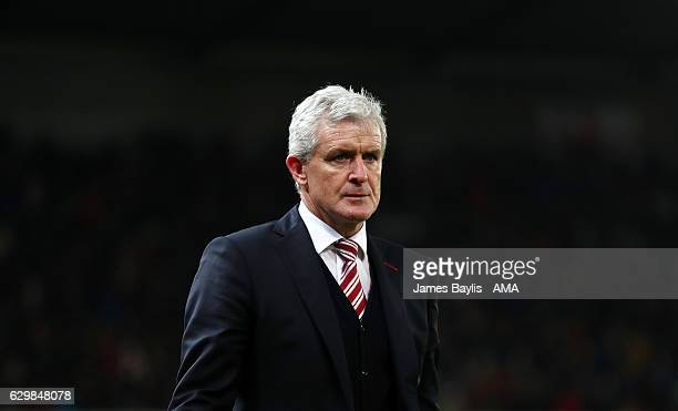 Mark Hughes the head coach / manager of Stoke City during the Premier League match between Stoke City and Southampton at Bet365 Stadium on December...