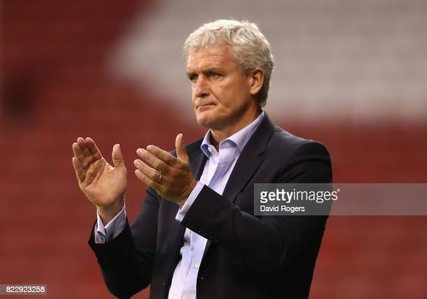 Mark Hughes the Stoke City manager looks on during the pre season friendly match between Sheffield United and Stoke City at Bramall Lane on July 25...