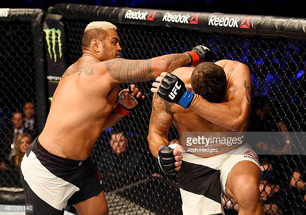 Mark Hunt lands a righthanded punch against Antonio Silva in their heavyweight bout during the UFC 193 event at Etihad Stadium on November 15 2015 in...