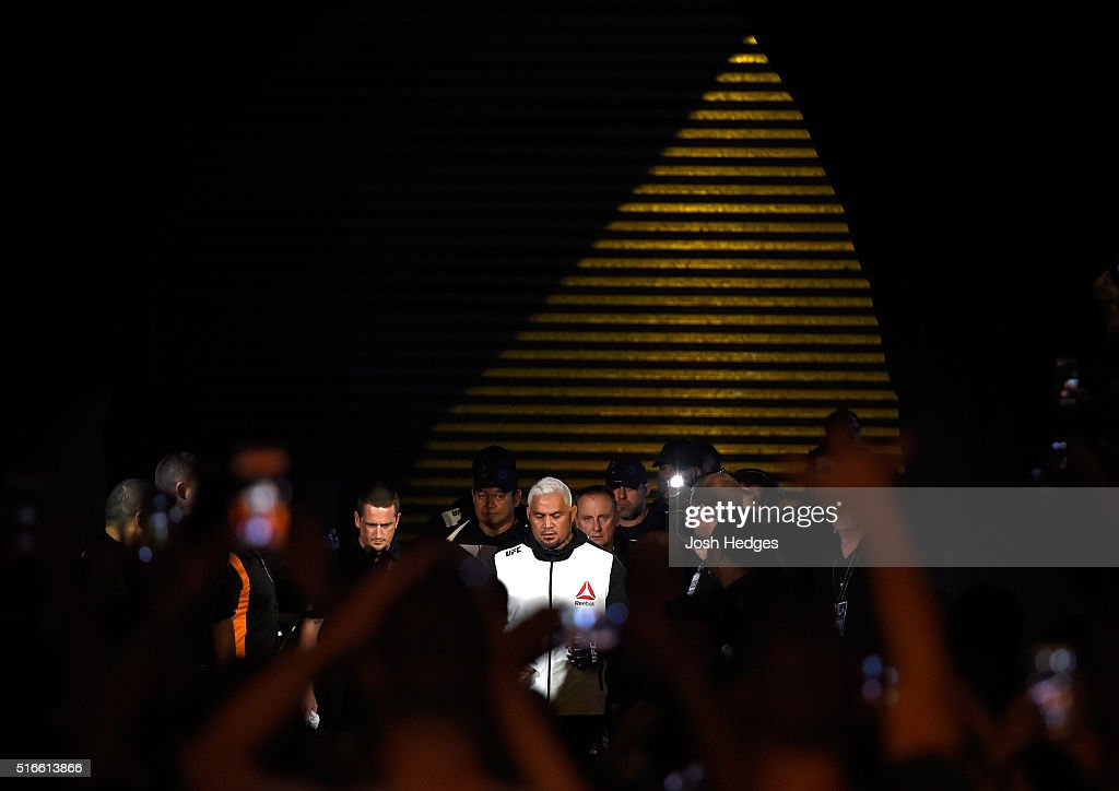 Mark Hunt of New Zealand enters the arena before facing Frank Mir of the United States in their heavyweight bout during the UFC Fight Night event at the Brisbane Entertainment Centre on March 20, 2016 in Brisbane, Australia.