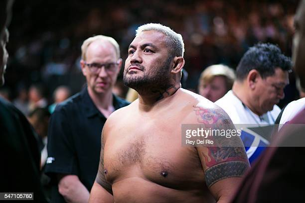 Mark Hunt prepares to enter the Octagon against Brock Lesnar during the UFC 200 event at TMobile Arena on July 9 2016 in Las Vegas Nevada