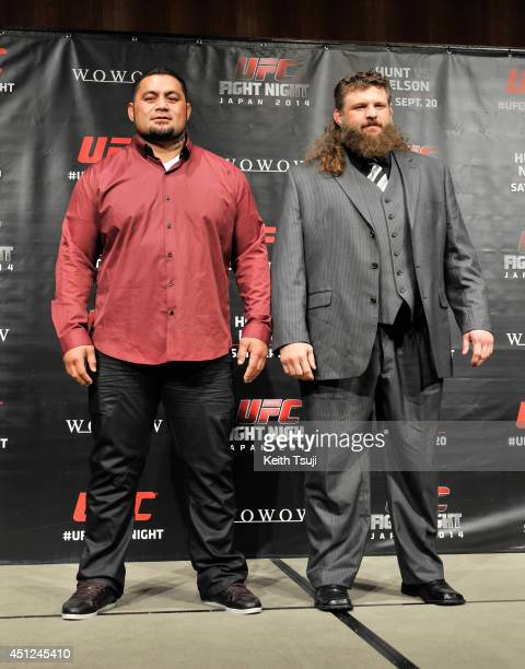 Mark Hunt with his opponenet Roy Nelson pose for photo during the press conference for UFC Fight Night Japan Hunt v Nelson at Park Hyatt Tokyo on...