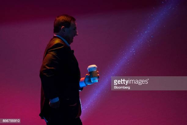 Mark Hurd chief executive officer of Oracle Corp exits the stage after a presentation during the Oracle OpenWorld 2017 conference in San Francisco...