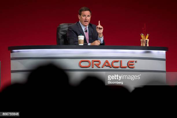Mark Hurd chief executive officer of Oracle Corp speaks during the Oracle OpenWorld 2017 conference in San Francisco California US on Monday Oct 2...
