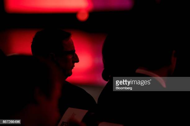 Mark Hurd cochief executive officer of Oracle Corp watches a presentation during the Oracle OpenWorld 2017 conference in San Francisco California US...