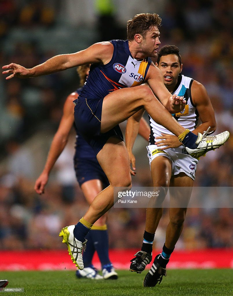 Mark Hutchings of the Eagles kicks the ball forward during the round five AFL match between the West Coast Eagles and the Port Power at Patersons Stadium on April 19, 2014 in Perth, Australia.