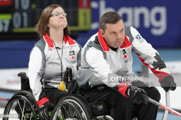 Mark Ideson from Canada delivers a stone during the World Wheelchair Curling Championship 2017 test event for PyeongChang 2018 Winter Olympic Games...
