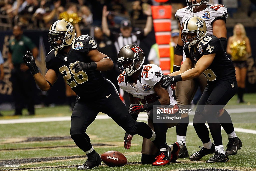 <a gi-track='captionPersonalityLinkClicked' href=/galleries/search?phrase=Mark+Ingram&family=editorial&specificpeople=578256 ng-click='$event.stopPropagation()'>Mark Ingram</a> #28 of the New Orleans Saints scores a touchdown against the Tampa Bay Buccaneers at the Mercedes-Benz Superdome on December 16, 2012 in New Orleans, Louisiana. The Saints defeated the Buccs 41-0.