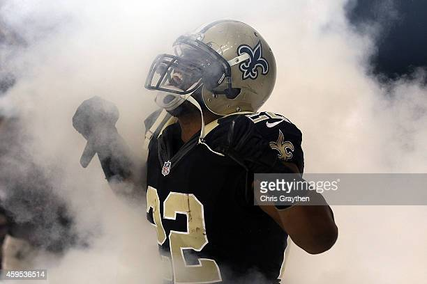 Mark Ingram of the New Orleans Saints takes the field prior to a game against the Baltimore Ravens at the MercedesBenz Superdome on November 24 2014...