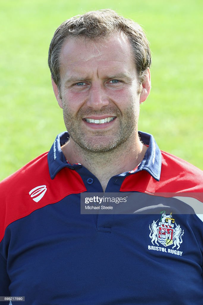 Mark Irish Academy Forwards Coach poses for a portrait during the Bristol Rugby squad photo call for the 20162017 Aviva Premiership Rugby season on...