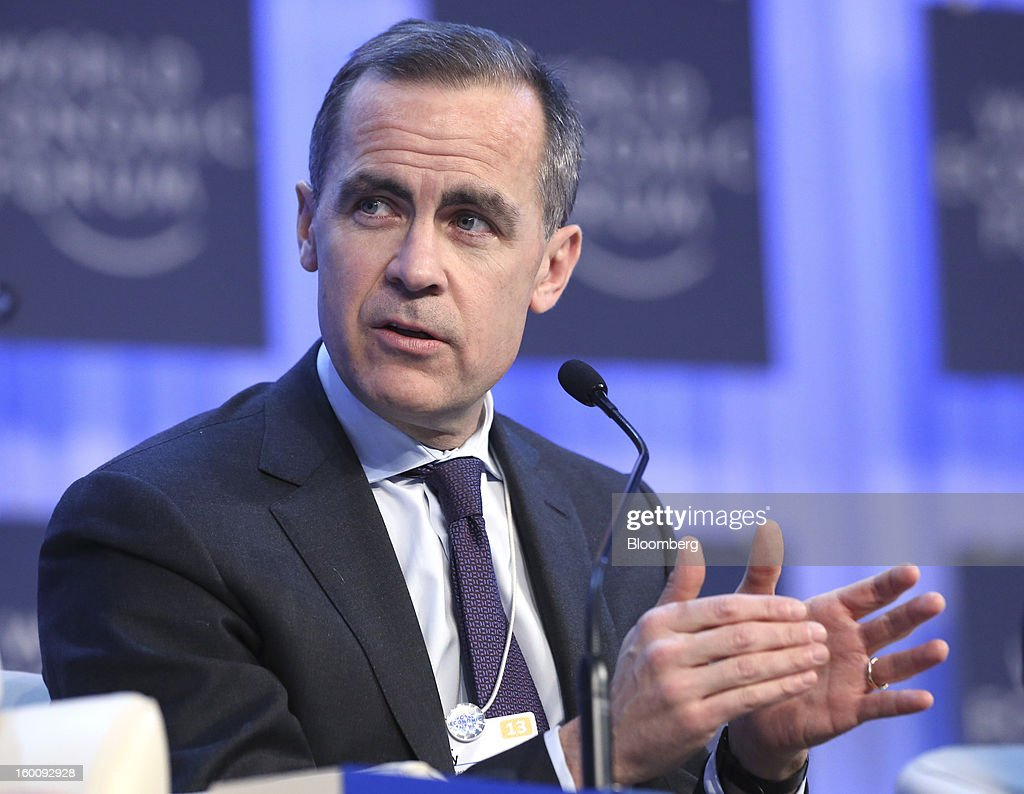 Mark J. Carney, governor of the central bank of Canada, gestures as he speaks during a session on the final day of the World Economic Forum (WEF) in Davos, Switzerland, on Saturday, Jan. 26, 2013. World leaders, influential executives, bankers and policy makers attend the 43rd annual meeting of the World Economic Forum in Davos, the five day event runs from Jan. 23-27. Photographer: Chris Ratcliffe/Bloomberg via Getty Images