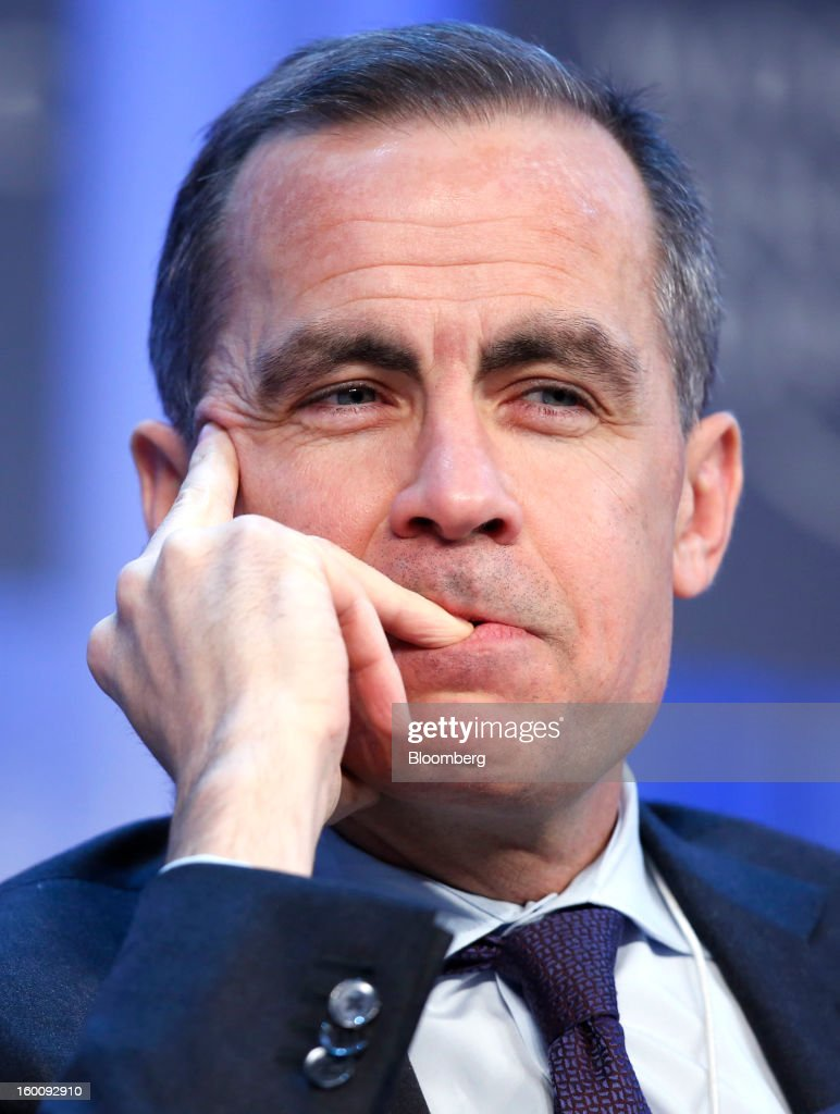 Mark J. Carney, governor of the central bank of Canada, listens during a session on the final day of the World Economic Forum (WEF) in Davos, Switzerland, on Saturday, Jan. 26, 2013. World leaders, influential executives, bankers and policy makers attend the 43rd annual meeting of the World Economic Forum in Davos, the five day event runs from Jan. 23-27. Photographer: Jason Alden/Bloomberg via Getty Images