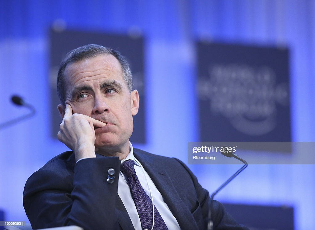 Mark J. Carney, governor of the central bank of Canada, listens during a session on the final day of the World Economic Forum (WEF) in Davos, Switzerland, on Saturday, Jan. 26, 2013. World leaders, influential executives, bankers and policy makers attend the 43rd annual meeting of the World Economic Forum in Davos, the five day event runs from Jan. 23-27. Photographer: Chris Ratcliffe/Bloomberg via Getty Images