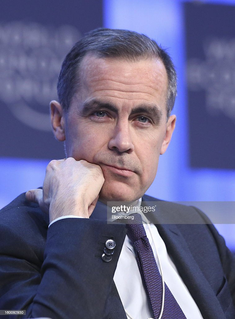 Mark J. Carney, governor of the central bank of Canada, pauses during a session on the final day of the World Economic Forum (WEF) in Davos, Switzerland, on Saturday, Jan. 26, 2013. World leaders, influential executives, bankers and policy makers attend the 43rd annual meeting of the World Economic Forum in Davos, the five day event runs from Jan. 23-27. Photographer: Chris Ratcliffe/Bloomberg via Getty Images