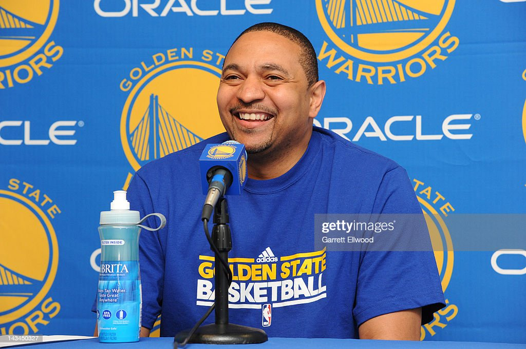 Mark Jackson, head coach of the Golden State Warriors, speaks to members of the media before a game against the San Antonio Spurs on April 26, 2012 at Oracle Arena in Oakland, California.