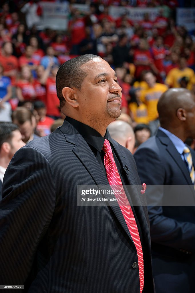 Mark Jackson Head Coach of the Golden State Warriors stands on the sideline during a game against the Los Angeles Clippers in Game Seven of the Western Conference Quarterfinals during the 2014 NBA Playoffs at Staples Center on May 3, 2014 in Los Angeles, California.