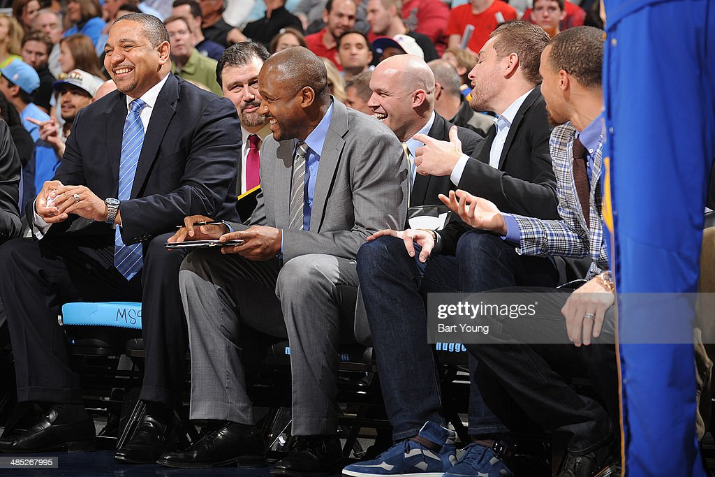 Mark Jackson of the Golden State Warriors and his bench reacts to a call against the Denver Nuggets on April 16, 2014 at the Pepsi Center in Denver, Colorado.