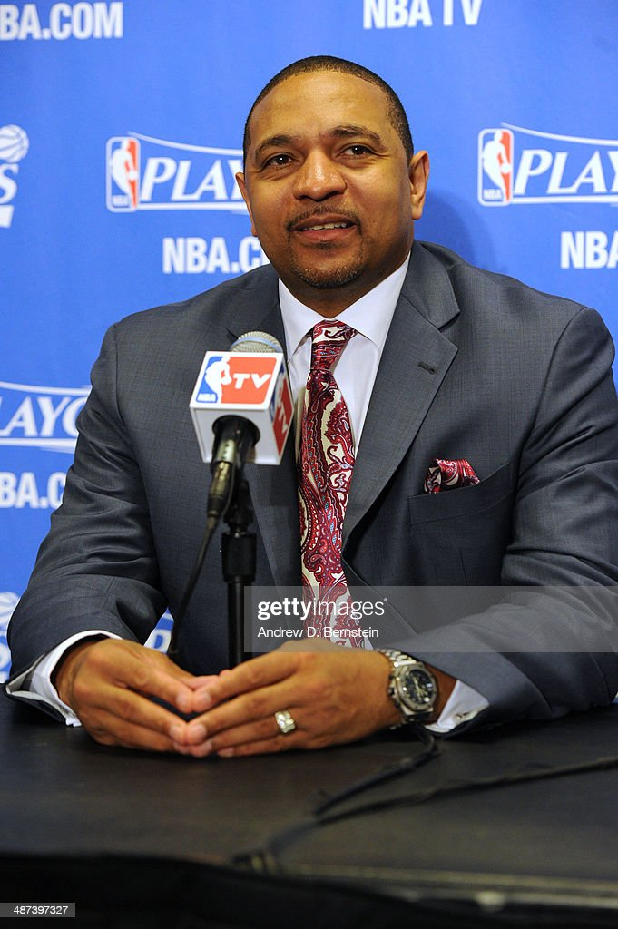 <a gi-track='captionPersonalityLinkClicked' href=/galleries/search?phrase=Mark+Jackson+-+Basketball+Coach&family=editorial&specificpeople=203051 ng-click='$event.stopPropagation()'>Mark Jackson</a> of the Golden State Warriors answers questions from the media after a game against the Golden State Warriors in Game Five of the Western Conference Quarterfinals at Staples Center on April 29, 2014 in Los Angeles, California.