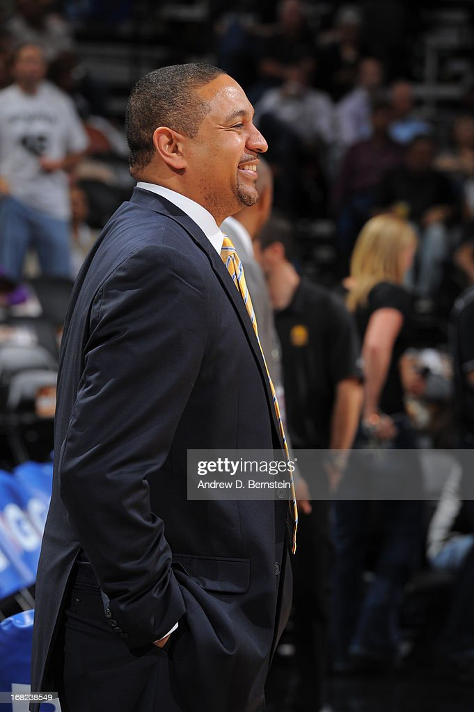 Mark Jackson of the Golden State Warriors before the game against the San Antonio Spurs in Game One of the Western Conference Semifinals during the 2013 NBA Playoffs on May 6, 2013 at the AT&T Center in San Antonio, Texas.