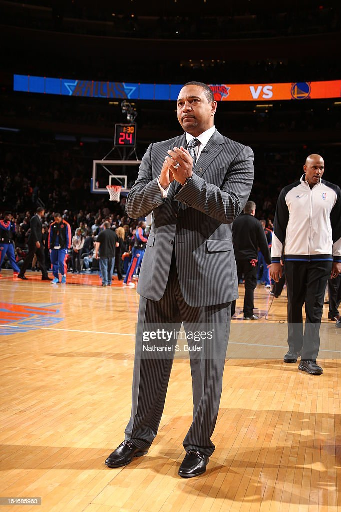 Mark Jackson of the Golden State Warriors claps before the game against the New York Knicks on February 27, 2013 at Madison Square Garden in New York City.