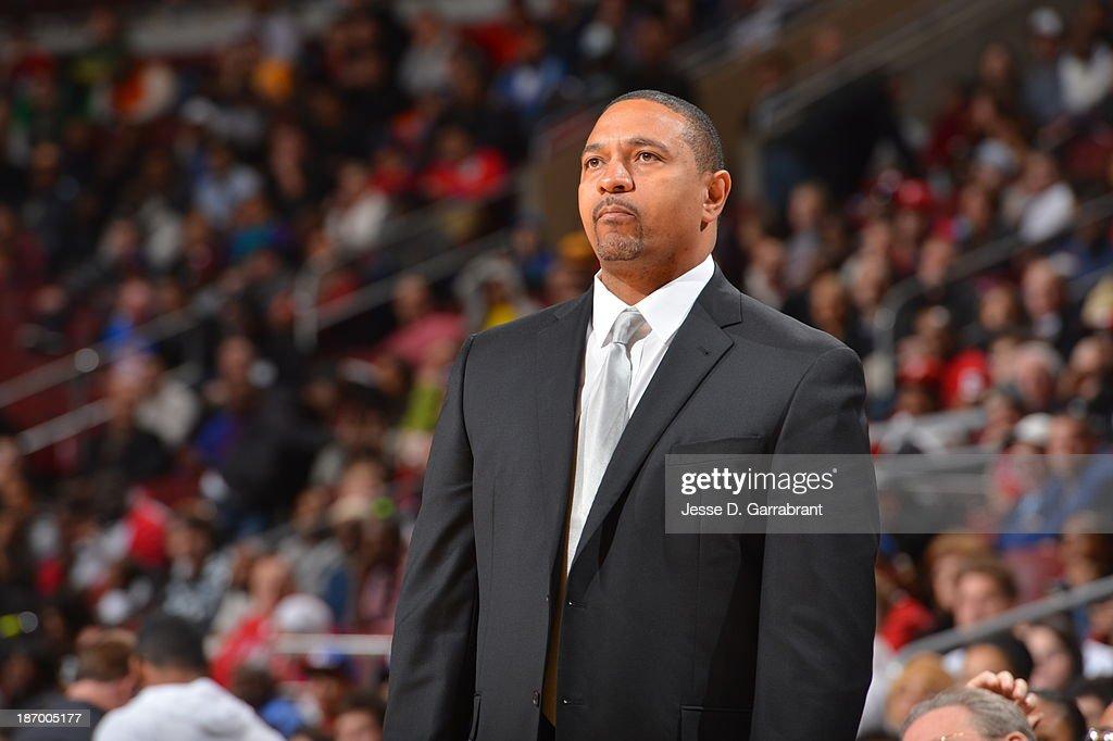 Mark Jackson of the Golden State Warriors looks on against the Philadelphia 76ers at the Wells Fargo Center on November 4, 2013 in Philadelphia, Pennsylvania.