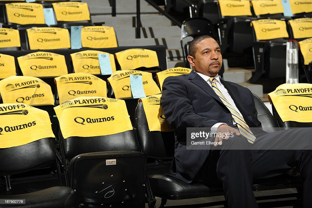Mark Jackson of the Golden State Warriors sits in the crowd before the game against the Denver Nuggets in Game One of the Western Conference Quarter Finals during the 2013 NBA Playoffs on April 20, 2013 at the Pepsi Center in Denver, Colorado.