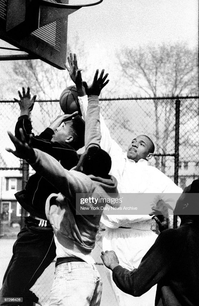 Mark Jackson plays ball with friends at O'Connell Park in St Albans Queens