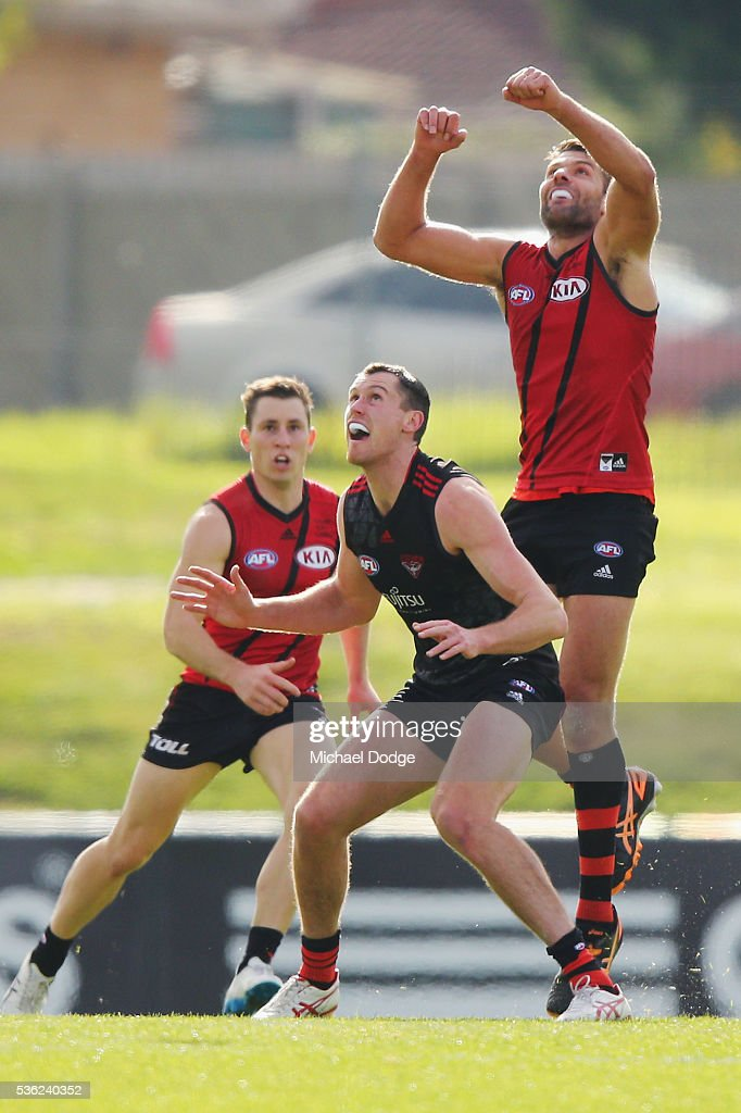 Mark Jamar of the Bombers (R) and <a gi-track='captionPersonalityLinkClicked' href=/galleries/search?phrase=Matthew+Leuenberger&family=editorial&specificpeople=681860 ng-click='$event.stopPropagation()'>Matthew Leuenberger</a> of the Bombers compete for the ball during an Essendon Bombers AFL training session at True Value Solar Centre on June 1, 2016 in Melbourne, Australia.