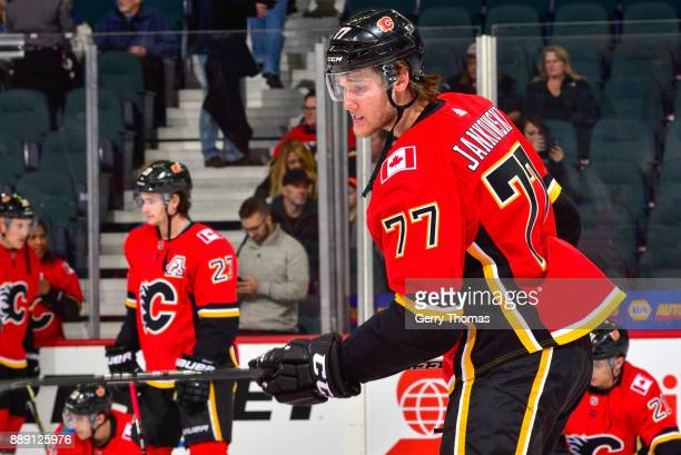 Mark Jankowski of the Calgary Flames at warm up in a NHL game against the Vancouver Canucks at the Scotiabank Saddledome on December 09 2017 in...