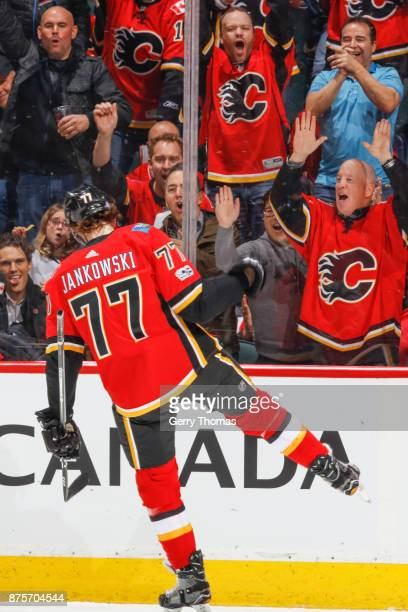 Mark Jankowski of the Calgary Flames celebrate in an NHL game against the St Louis Blues at the Scotiabank Saddledome on November 13 2017 in Calgary...