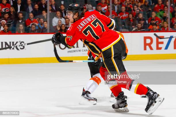 Mark Jankowski of the Calgary Flames in a game against the Philadelphia Flyers at the Scotiabank Saddledome on December 04 2017 in Calgary Alberta...